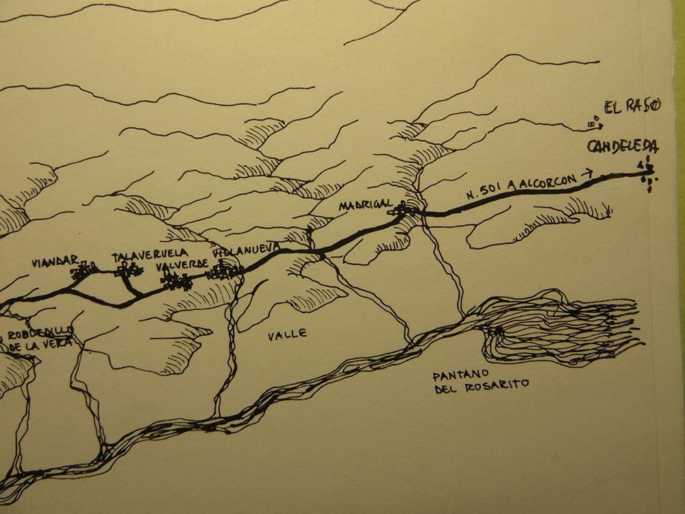 Figura 2. Candeleda y la comarca de La Vera: pueblos a lo largo de la 501, río Tiétar, embalse de Rosarito y gargantas que bajan desde la sierra.