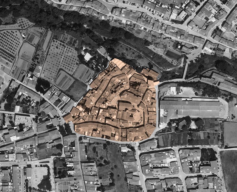 Figura 1. El ámbito de intervención del concurso de ideas: el núcleo histórico de Sant Pere de Riudebitlles