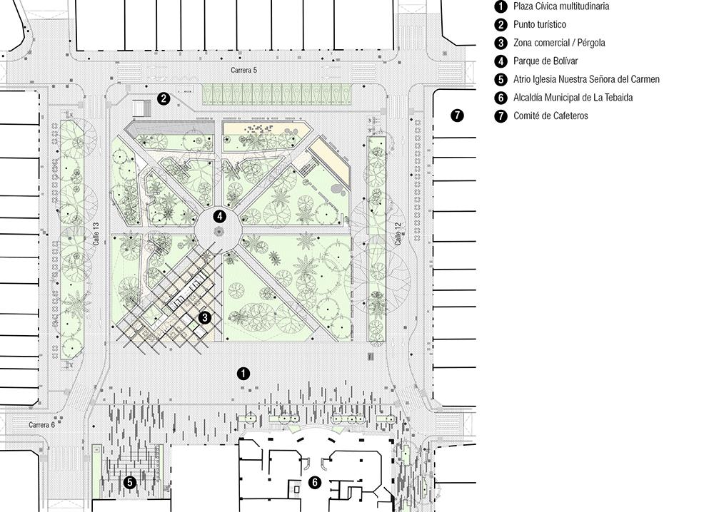 Figura 6. Planta proyecto arquitectónico Plaza Bolívar. Figura 7. Ilustración punto turístico. Figura 8. Ilustración zona comercial.