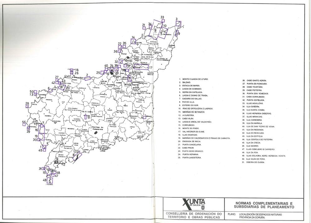 Figura 3. Normas provinciales de 1991. Mapa localizador de los espacios naturales de la provincia de A Coruña. Ejemplo de ficha de espacio natural.