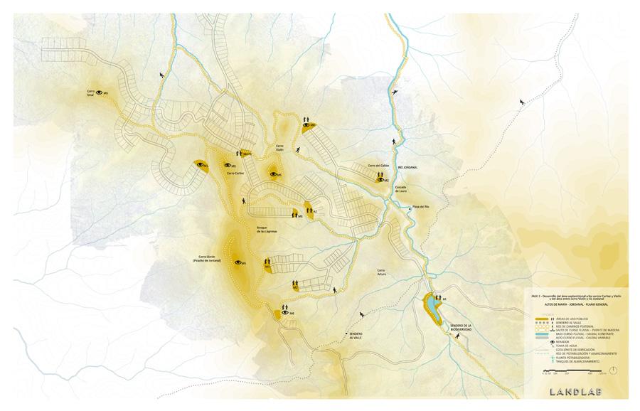 Figura 7. Itinerarios y miradores paisajísticos. Fuente: Landlab.