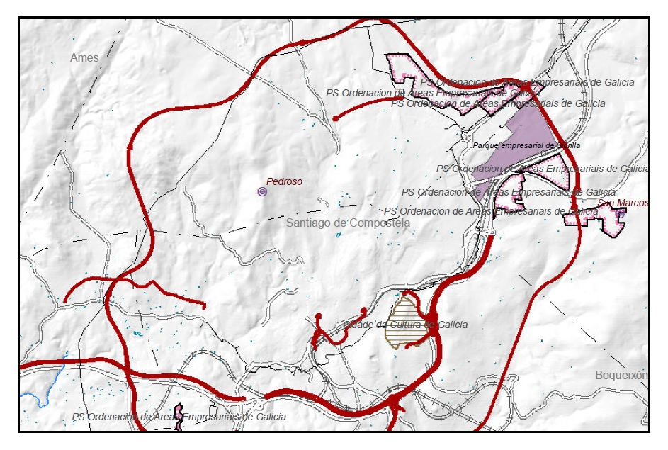 Figura 6. Extracto correspondiente a la zona de Santiago de Compostela del plano de la serie a escala 1/250 000 del PBA de Instrumentos de Ordenación del Territorio