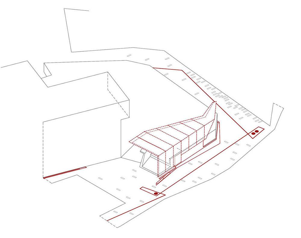 Figura 6. Axonometría de la zona del muro-pérgola Figura 7. Axonometría de la zona de la puerta-umbráculo