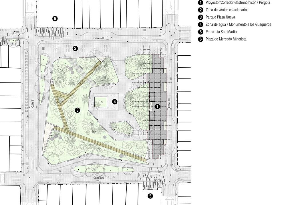 Figura 10.Planta proyecto arquitectónico Plaza Nueva. Figura 11. Ilustración pasarela parque.