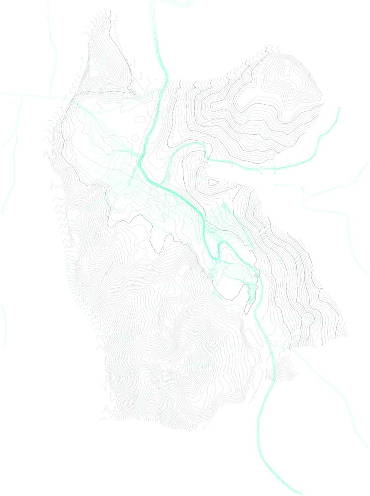 Figura 10. Topografía y agua; caminos principales y secundarios y vegetación. Fuente: Landlab