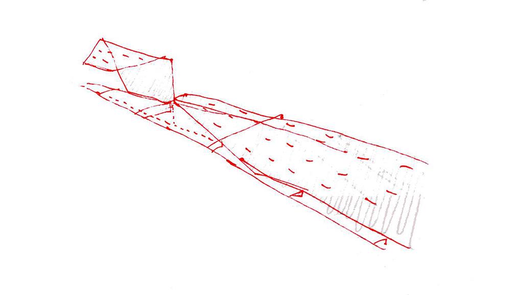 Figura 9. Croquis de un pliego-silla en las acequias.