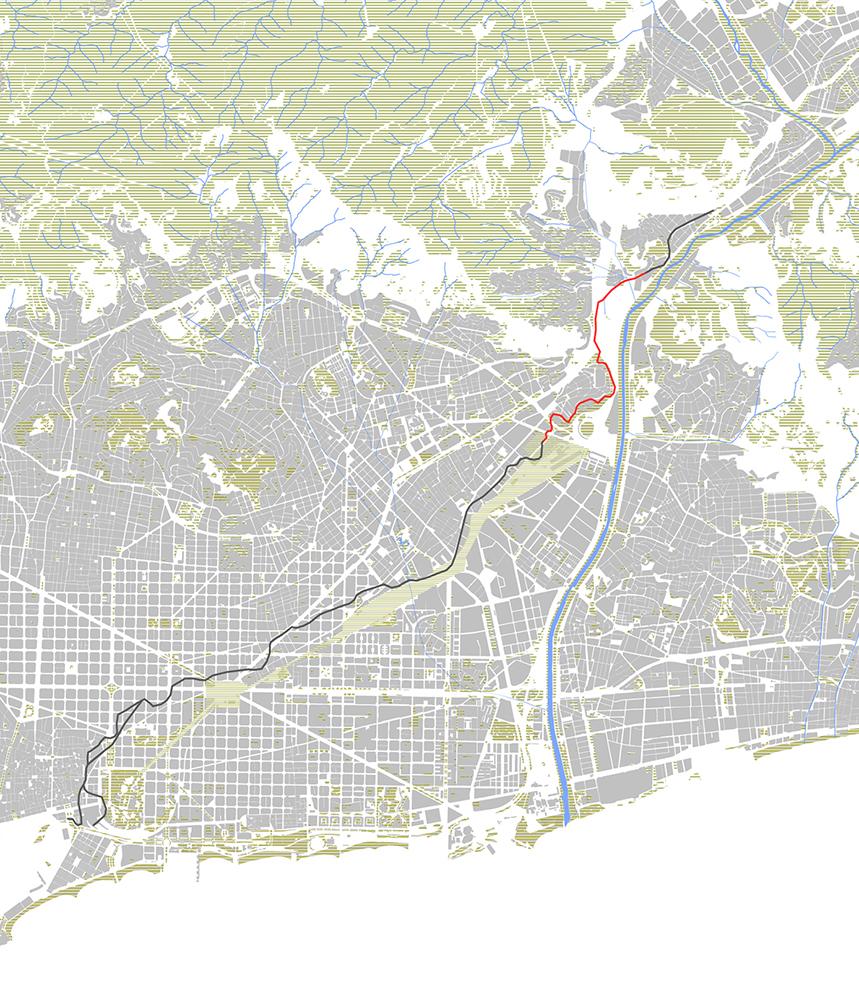 Figura 1. La ciudad de Barcelona y el Rec Comtal. En rojo, el ámbito de actuación.