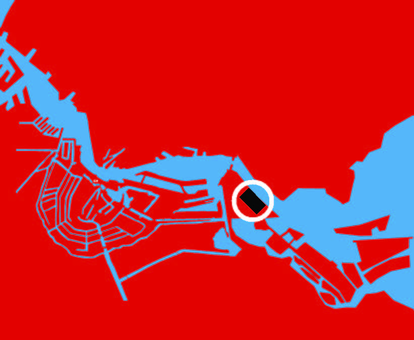 Figura 1. Centro de Ámsterdam y localización de Zeeburgeiland. Figuras 2-4. Antigua planta de tratamiento de aguas residuales. Fotos del Ayuntamiento de Ámsterdam.