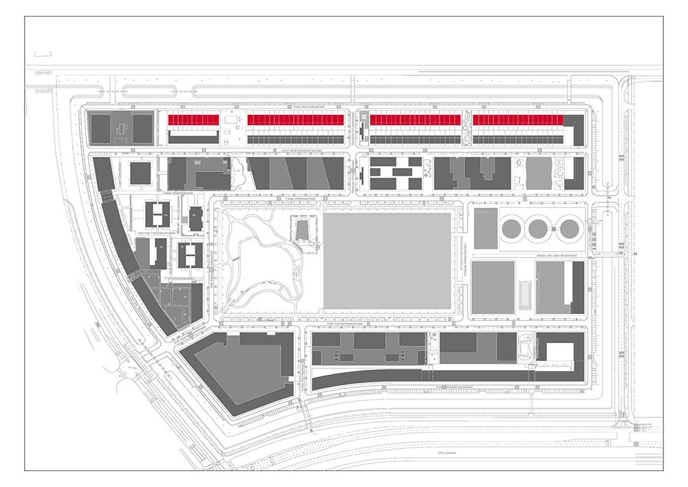 Figuras 10 y 11. Franjas de viviendas de promoción privada. Plano: Ayuntamiento de Ámsterdam.