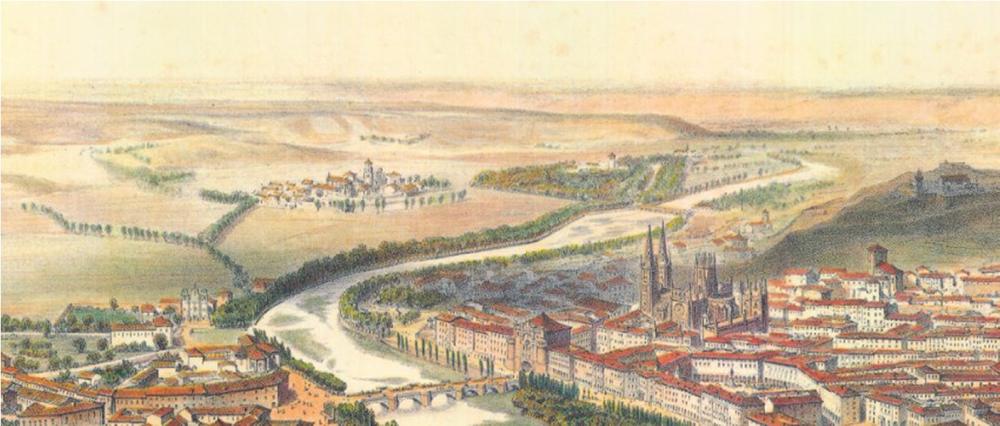 Figura 10. Fragmento de la perspectiva de Guesdon, donde se aprecia el carácter aislado de los enclaves de Huelgas y Hospital.