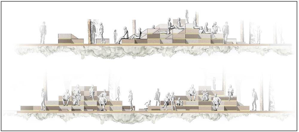 Figura 11. Plaza contra la Av. Caracas: Diseño urbanístico y detalles de los elementos.