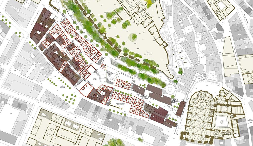 Figura 11. Propuesta tipológica indicativa, plantas bajas carrer del mig.