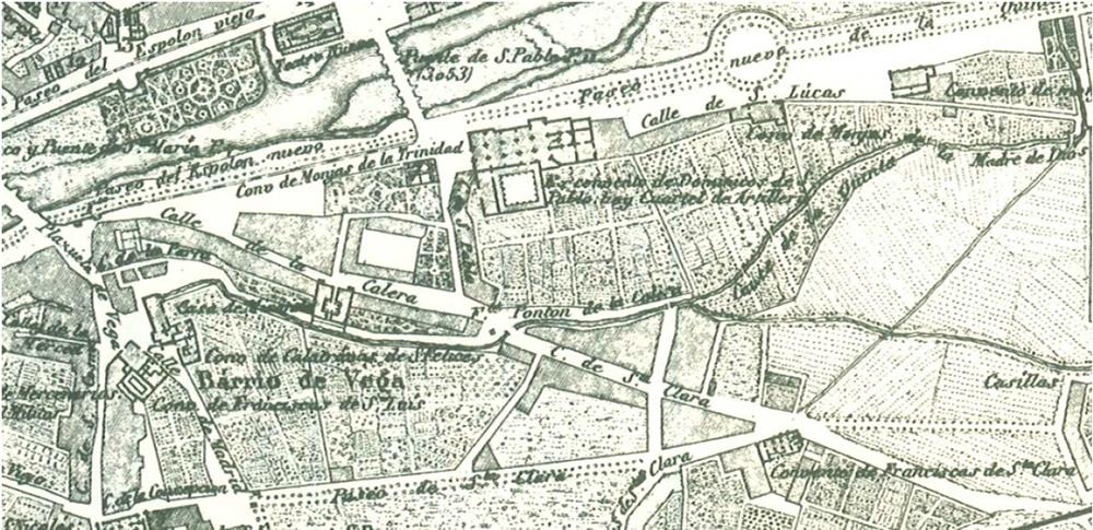 Figura 11. En el plano de Coello (1868) está ya dibujado el paseo de la Quinta.