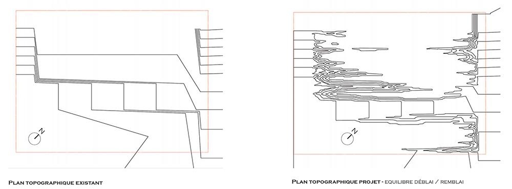 Figura 12. A la izquierda, planta preexistente. A la derecha, planta de proyecto (©Gilles Brusset)