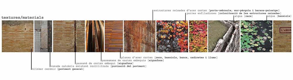 Figura 13. Materiales y texturas propuestas para la renovción del espacio público del núcleo histórico de Sant Pere de Riudebitlles.