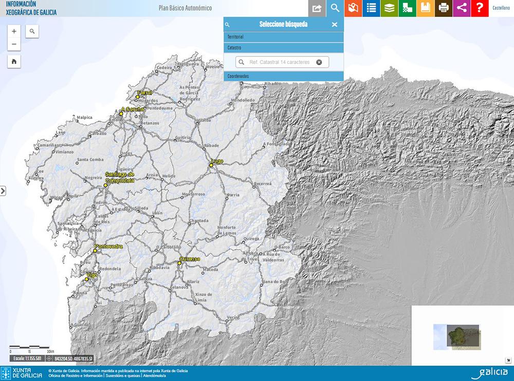 Figura 17. Plan básico autonómico. Pantalla de entrada del visor GIS, seleccionada la búsqueda por referencia catastral (http://mapas.xunta.gal/visores/pba/)
