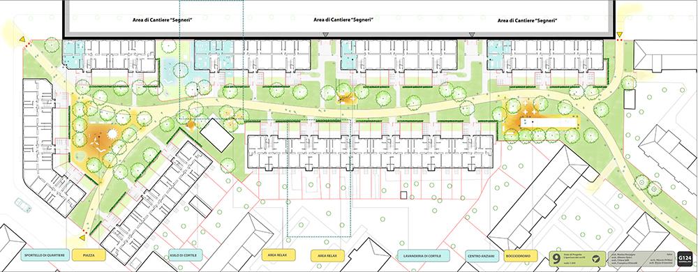 Figura 15. Vista general de la organización del patio (arriba) y detalle de las entradas a los patios (abajo).