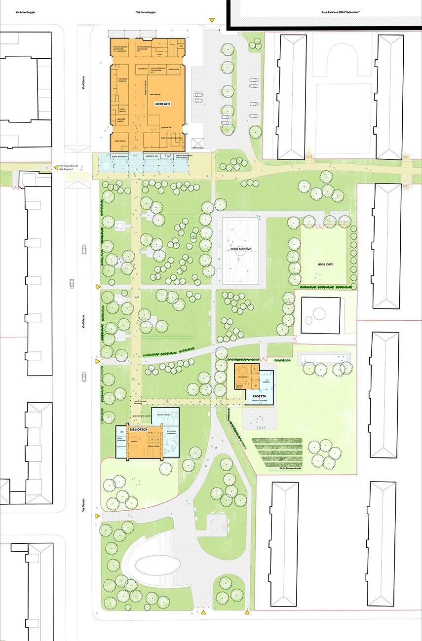Figura 16. Los caminos del Parque Odazio y sus nuevas funciones.