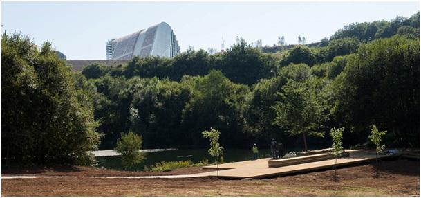 Figura 17. Plataforma/lago. Parque do lago. Foto: Isabel Aguirre.