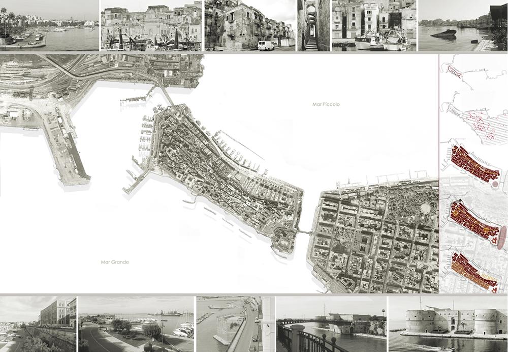 Figura 1. Emplazamiento urbano y esquema de la evolución histórica de la Ciudad Antigua de Taranto, desde la ciudad griega del siglo VII a.C. a las transformaciones del siglo XX.