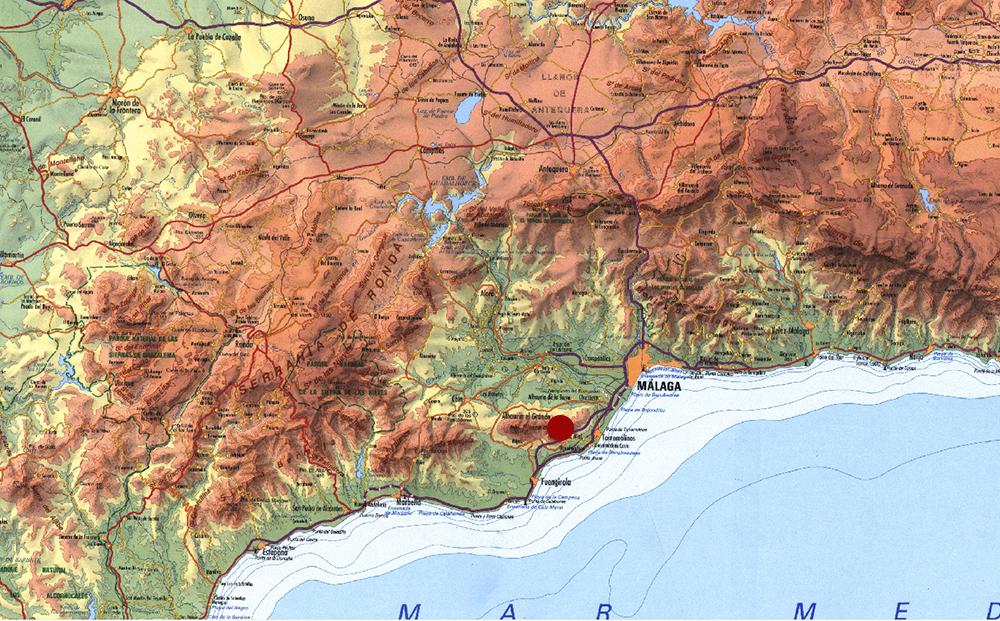 Figura 1. Situación del pueblo de Mijas a nivel provincial.