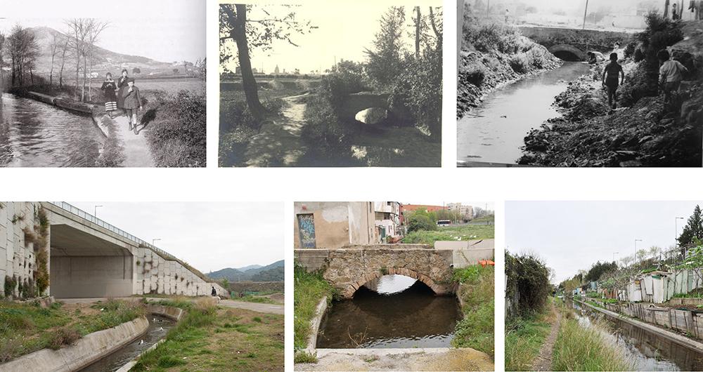 Figuras 2, 3, 4 (arriba): Fotografías históricas del ámbito de actuación. Figuras 5, 6, 7 (abajo): Fotografías del estado actual.