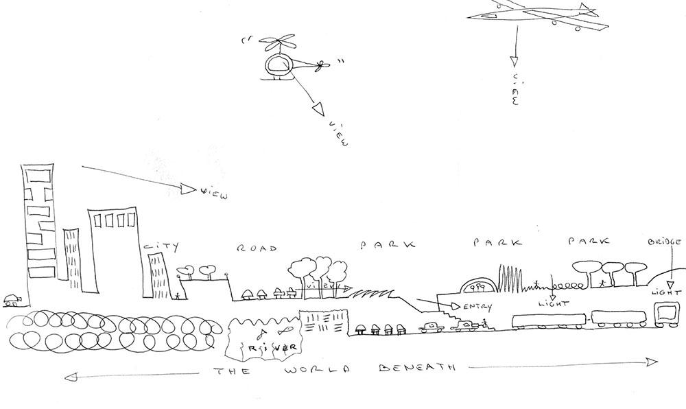 Figura 1. Esquemas y dibujos previos y maqueta del proyecto. ©Inside Outside.