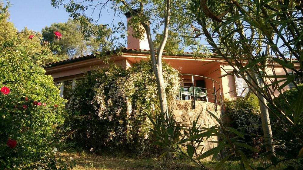 Figuras 27 y 28. A la izquierda, La casa, fachada Sur y jardín estacional. A la derecha, el emparrado al este de la casa sobre la terraza de olivos intermedia. Sept. 2010.