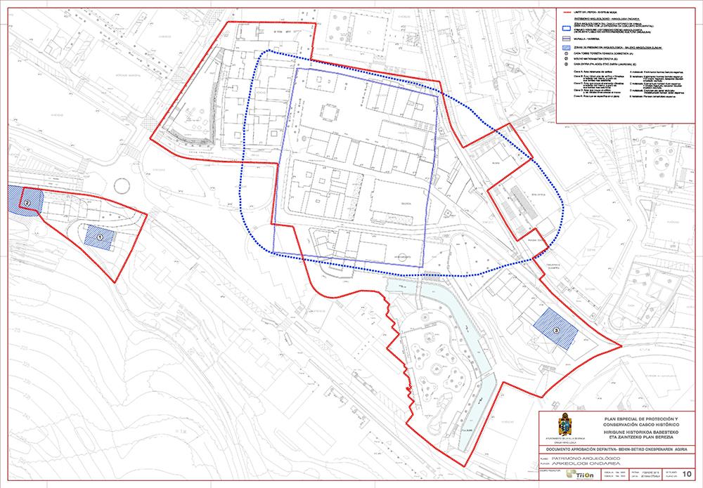 Figura 22: Plano 10 Patrimonio Arqueológico. Fuente: Plan Especial de Protección y Conservación del Casco Histórico de Ermua. Autor: TRION Planes y Servicios S.L.P.