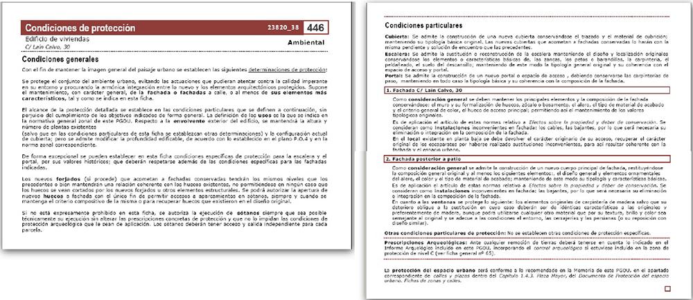 Figura 25. Ficha Resultante de catálogo de inmueble. Parte de protección.