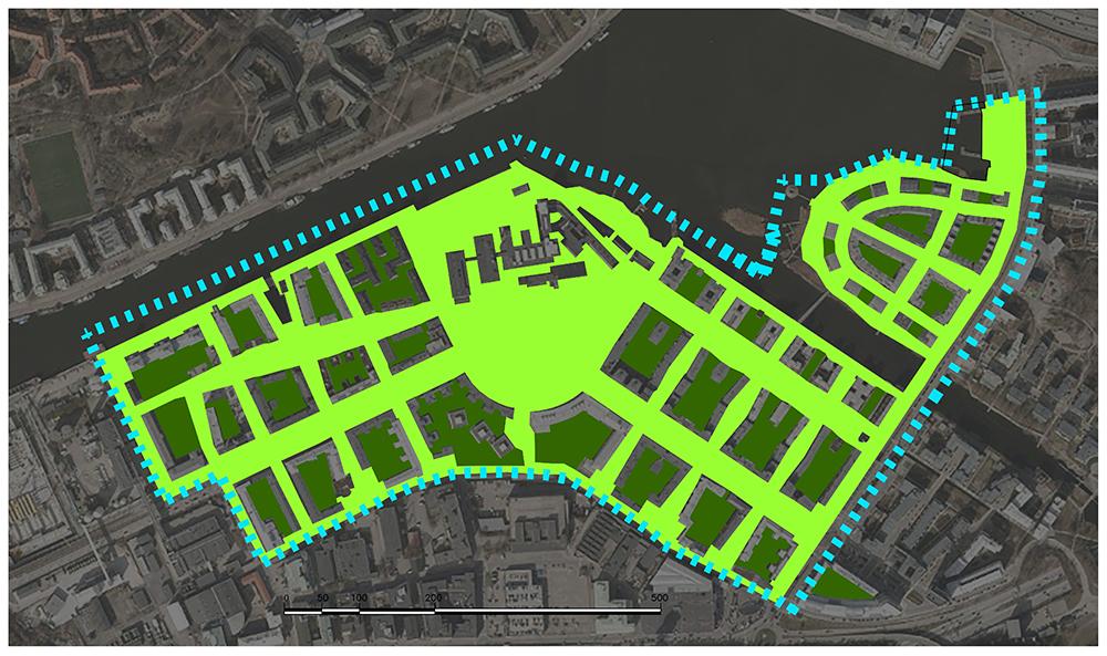 Figuras 26 y 27. A la izquierda, red de espacios libres de HammarbySjöstad. A la derecha, Frentes activos de HammarbySjöstad. (Elaboración propia, 2017).