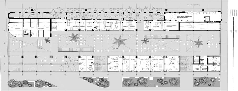Figura 27. Planta Piso 1: Accesos, museo, patios y áreas comerciales y de servicio