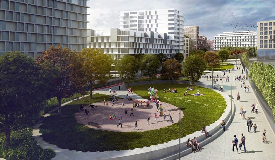 Figura 20. El parque de la zona Mahou como extensión hacia el centro del Parque del Rio