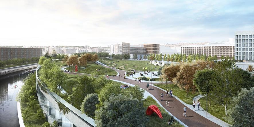 Figura 21. Visión de la cubrición de la calle 30 y continuidad del Parque del Rio.