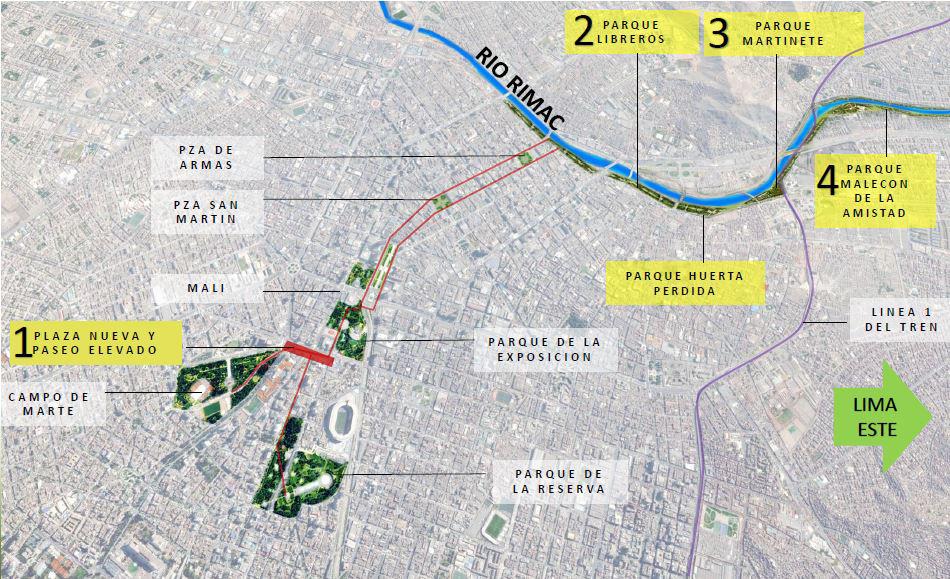 Figura 2. Ubicación de los distintos proyectos previstos.
