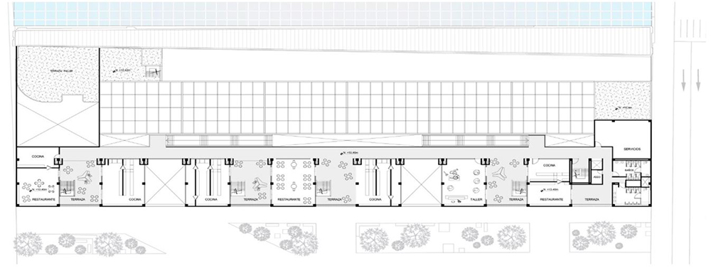 Figura 30. Planta Piso 4: Talleres, restaurantes, áreas comerciales y de servicio.