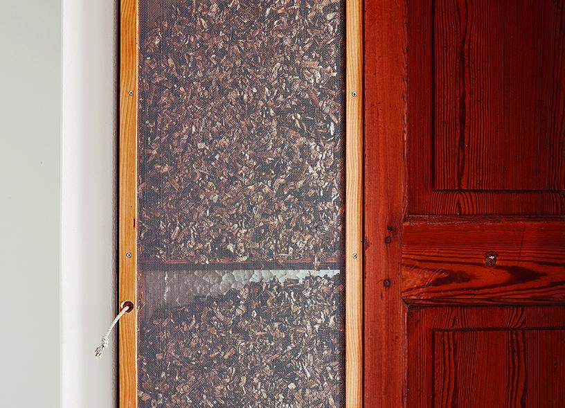 Figura 30: Puerta interior reutilizada y posidonia oceánica seca.