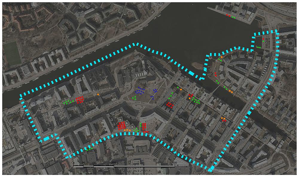Figuras 31 y 32. Planos de uso estancial (localización y síntesis) en día laborable. Hammarby (Elaboración propia, 2017).