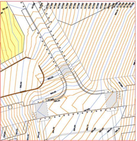 Figura 25. Detalle de un cruce con curvas de nivel cada diez centímetros