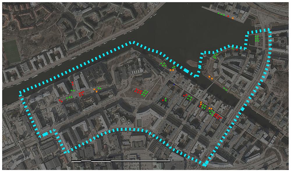 Figuras 33 y 34. Planos de uso estancial (localización y síntesis) en día festivo. Hammarby (Elaboración propia, 2017).