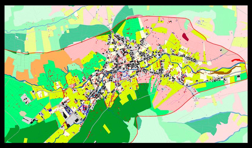 Figura 3. Plano del Valle de Haría y su palmeral. Vegetación y usos del suelo.