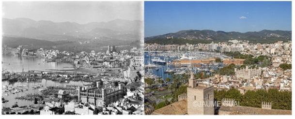 Figura 3. Palma en 1927 y en 2007. Fotos de J.Escalas y Jaume Gual, respectivamente.