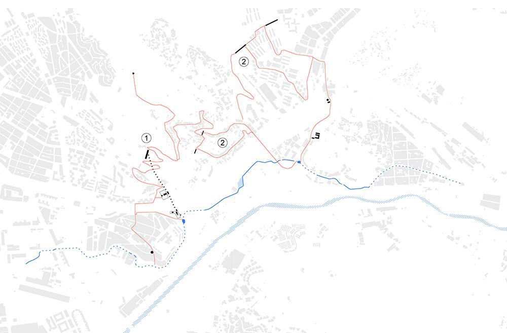 Figura 9: Conexiones transversales (1. Ruta patrimonial hasta Trinitat Nova y Sierra de Collserola; 2. Ruta hasta Ciutat Meridiana y acueducto del Baix Vallès)