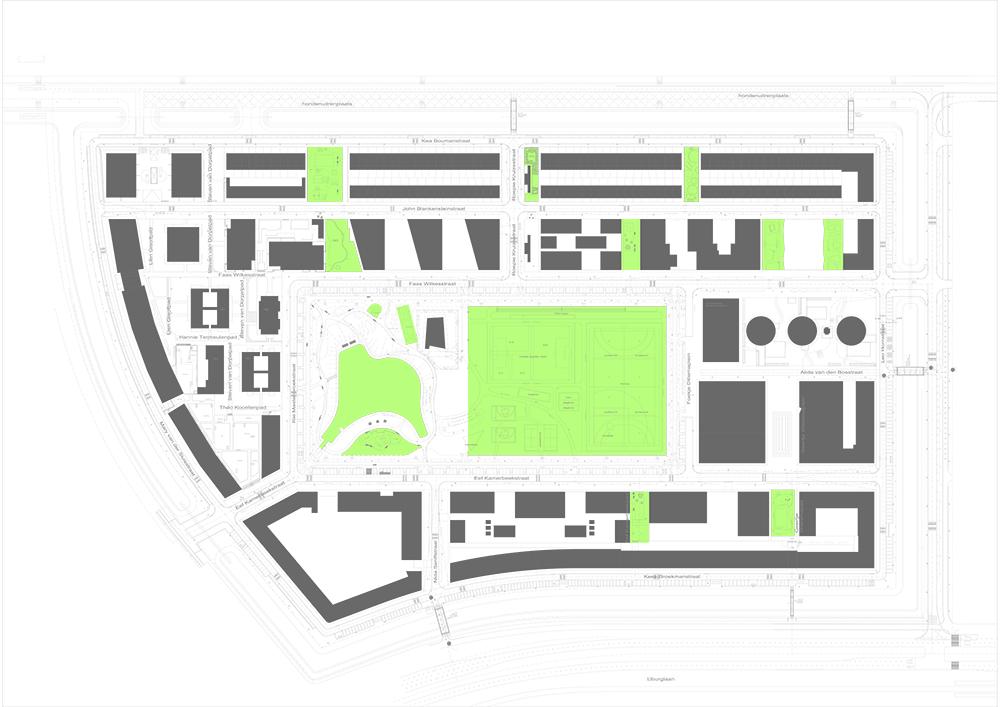 Figuras 46-49. Red de áreas de juego. De izquierda a derecha, de arriba a abajo, plano del Ayuntamiento de Ámsterdam, render de zesXzes y fotos de Egbert de Boer.