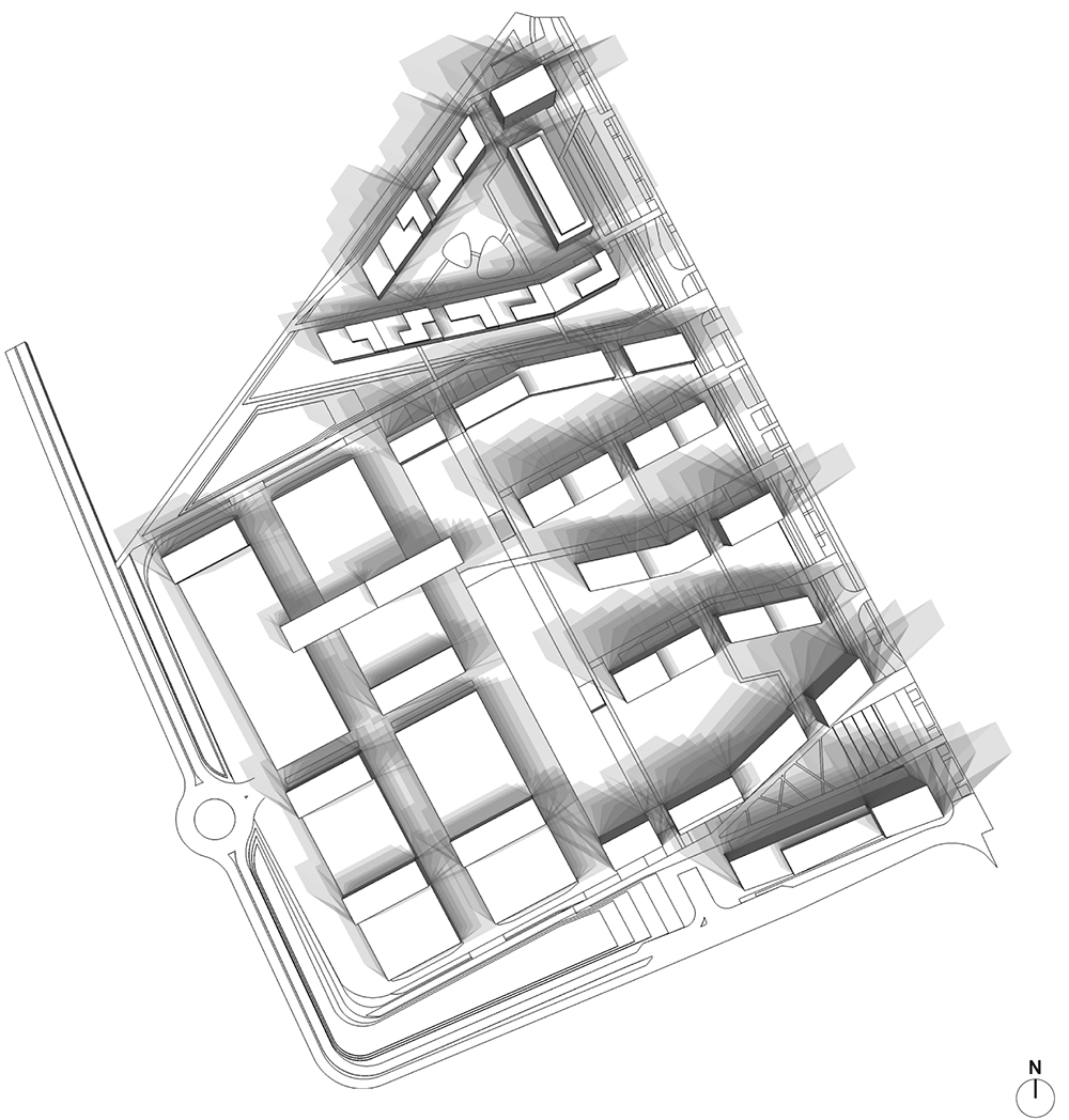 Figure 48: Ombres à la date du 21 mars de 8h à 16h