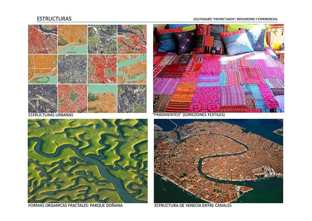 Figura  4. Estructuras urbanas naturales y artificiales, geometrías orgánicas a diferentes escalas.
