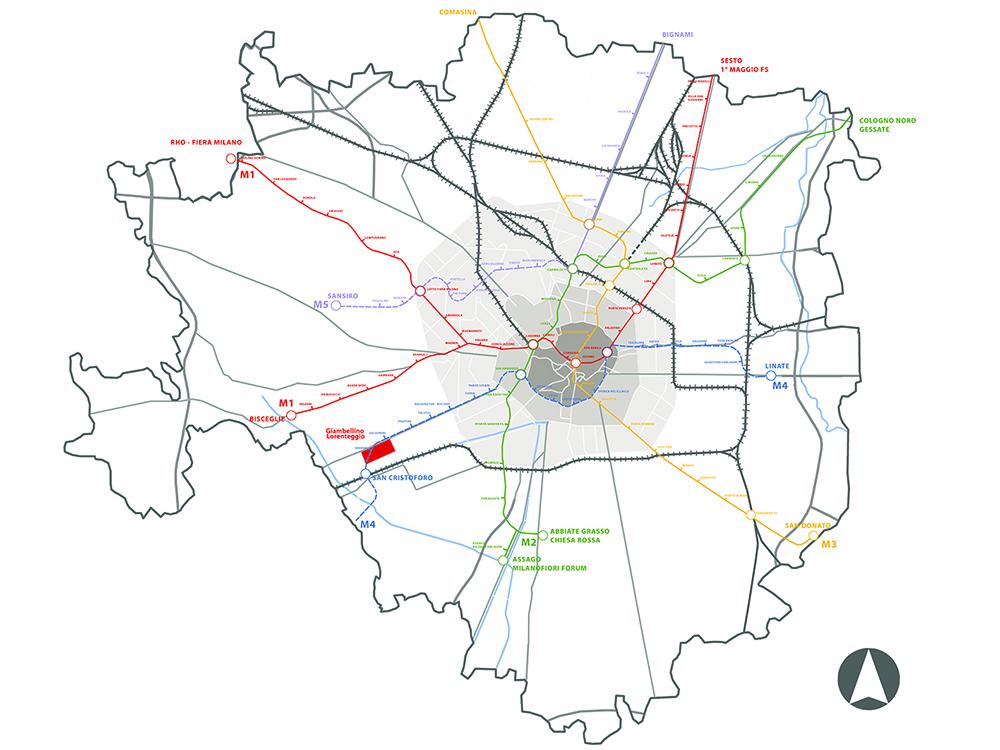Figura 4. Plano general de infraestructuras de Milán; en rojo, el barrio de Giambellino.