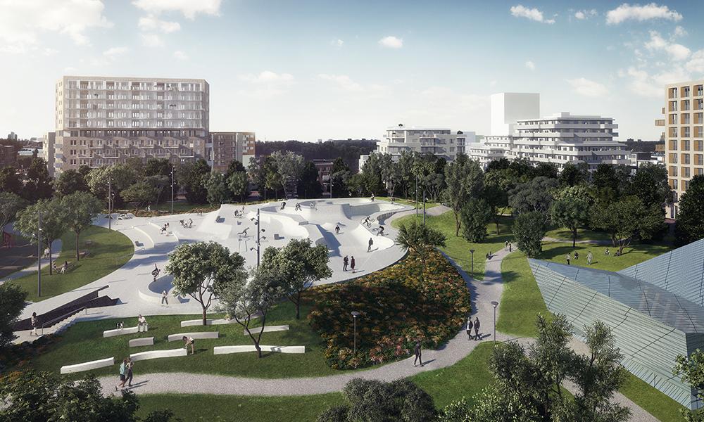 Figuras 50 y 51. Urban Sport Zone, con el skatepark. Render: zesXzes