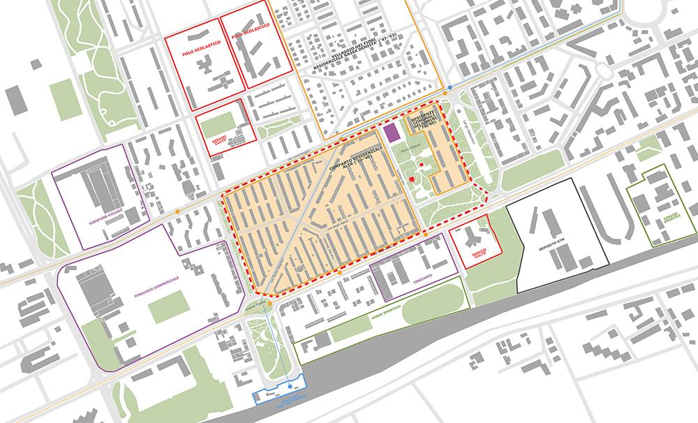 Figura 5. El límite del área de proyecto se corresponde con la línea discontinua roja.