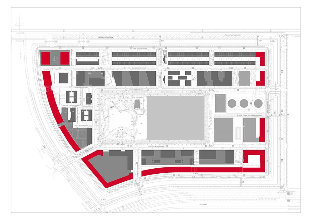 Figuras 6-9. Desarrollos de seis plantas con vistas hacia los viarios para contener el ruido del tráfico. Plano: Ayuntamiento de Ámsterdam. Fotos: Wouter van der Wolk.